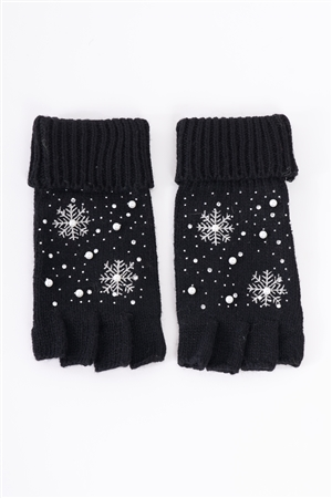 Black Fingerless Snowflakes Pearl Rhinestone Winter Gloves /3 Pieces