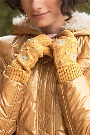 Mustard Fingerless Snowflakes Pearl Rhinestone Winter Gloves /3 Pieces