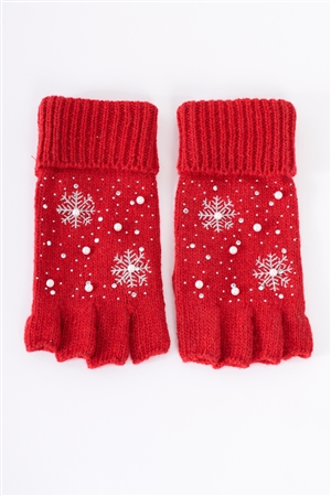 Red Fingerless Snowflakes Pearl Rhinestone Winter Gloves /3 Pieces