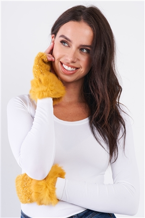 Mustard Woven Furry Fingerless Two-Way Winter Gloves /3 Pieces
