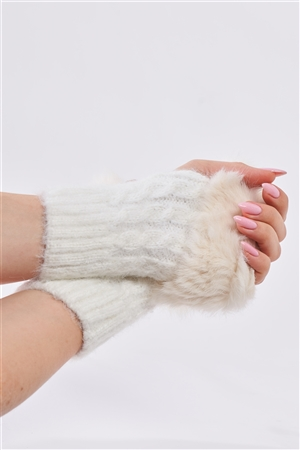 White Woven Furry Fingerless Two-Way Winter Gloves /3 Pieces