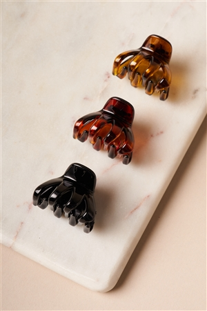 Amber-Brown-Black Mini 3 piece Claw Clips