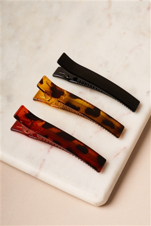 Amber-Brown-Black 3 piece Alligator Clips