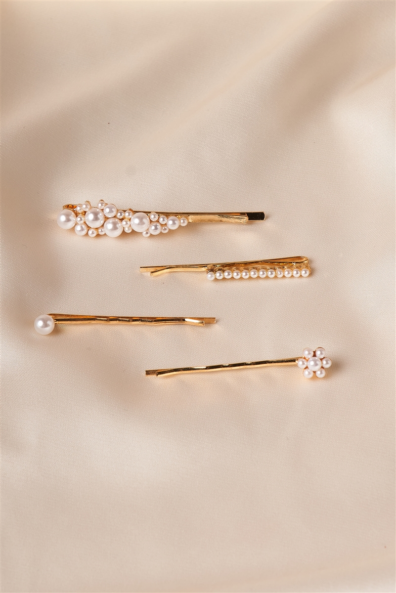 Gold Pearled Flower Bobby Pins