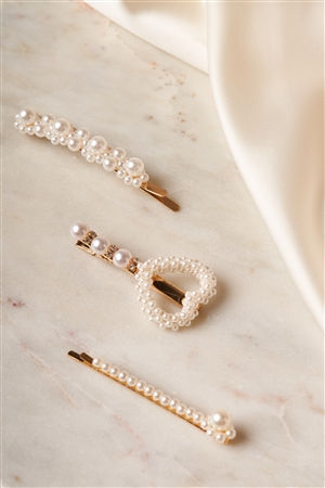 Gold Pearled Elegant Style Heart Bobby Pins