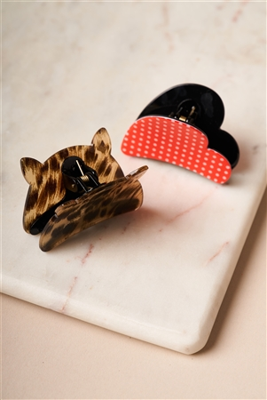 Cheetah Print and Polka Dot Small Butterfly Clips
