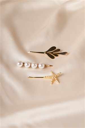Gold Pearl Starfish Bobby Pins