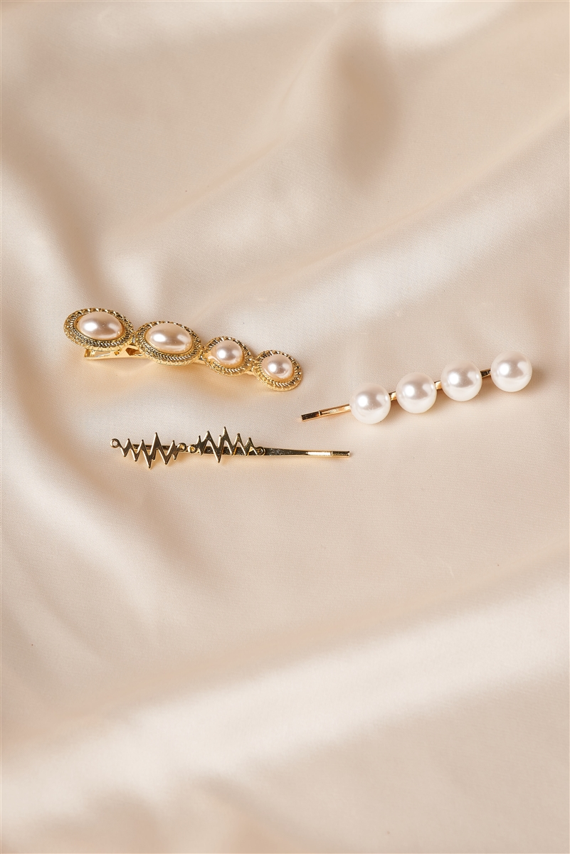 Gold Large Pearled Bobby Pins