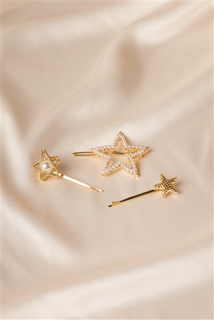 Gold Pearl Shinning Star Clips