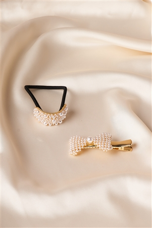 Gold Pearled Ponytail With Pearl Barrette
