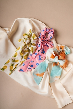 Multi Colored Playful Print Bow Tie Hair Scrunchies