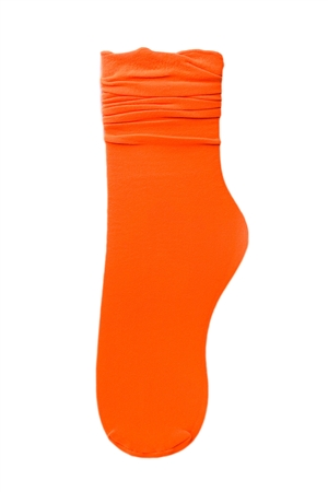 Neon Orange Nylon Mid Calf Sock