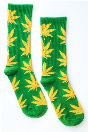 Green Yellow Marijuana Weed Leaf Mid Calf Tube Socks