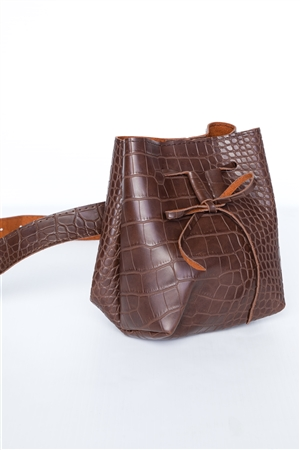 Brown Croc Effect Belt Belt