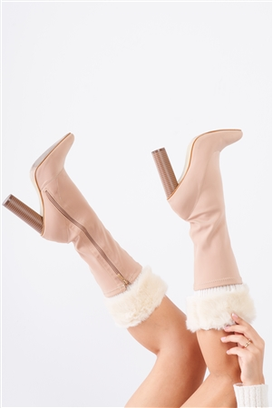 Ivory Knit Furry Shoe Insert Short Leg Warmers /3 Pieces