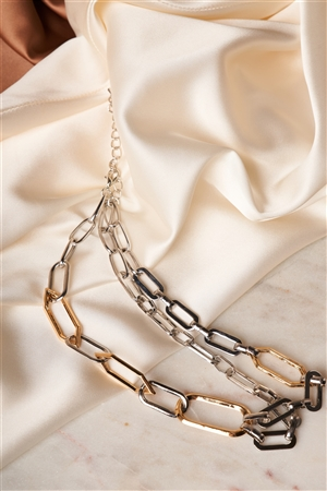 Silver Gold Unique Chain Link Choker Necklace