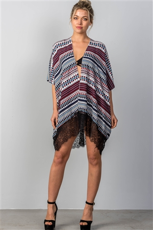 Mix Print Contrast Lace Hem Cover-Up Kimono