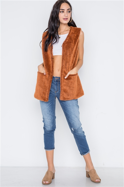 Brown Rust Sleeveless Faux Fur Vest