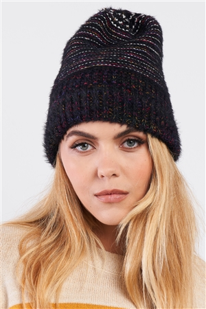 Black Rainbow Knit Fuzzy Woven Beanie /3 Pieces