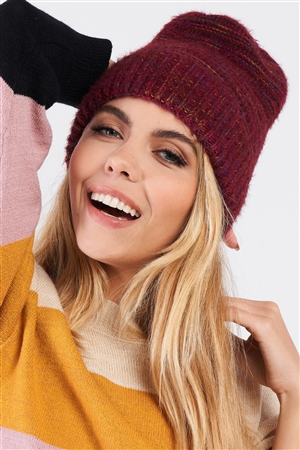 Burgundy Rainbow Knit Fuzzy Woven Beanie /3 Pieces
