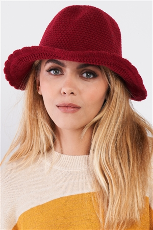 Burgundy Scallop Edge Woven Panama Hat /3 Pieces