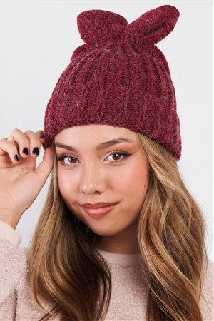 Burgundy Bunny Ears Detail Woven Winter Beanie /3 Pieces