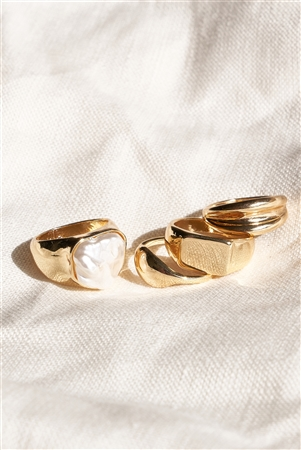 Gold Metallic Pearl Ring Set