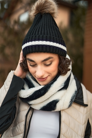 Zebra Black&White Striped Fuzzy Faux Fur Twisted Infinity Scarf /3 Pieces