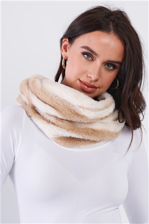 Ivory Striped Fuzzy Faux Fur Twisted Infinity Scarf /3 Pieces