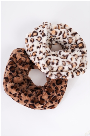 Ivory Leopard Print Faux Fur Infinity Winter Scarf /3 Pieces