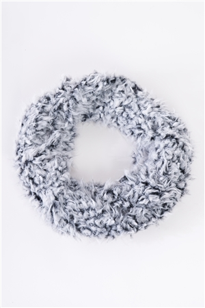 Black & White Fluffy Faux Fur Infinity Winter Scarf /3 Pieces