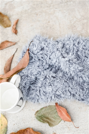 Grey Fluffy Faux Fur Infinity Winter Scarf /3 Pieces