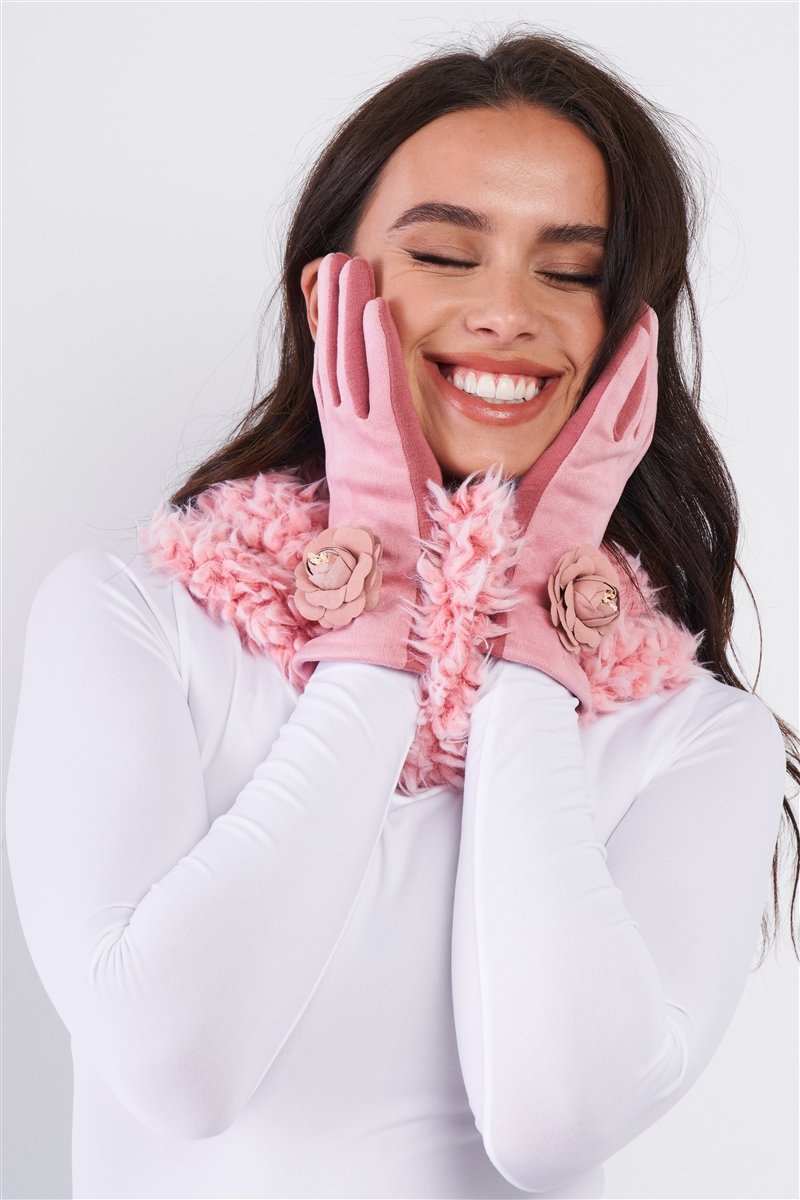 Pink Fluffy Faux Fur Infinity Winter Scarf /3 Pieces