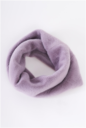 Lavender Faux Fur Soft Turban Twist Infinity Winter Scarf /3 Pieces