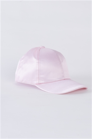Light Pink Satin Baseball Cap With Adjustable Velcro Strap /4 Hats