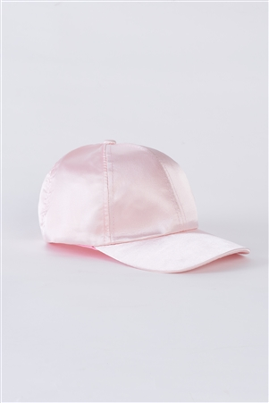 Pink Satin Baseball Cap With Adjustable Velcro Strap /6 Hats