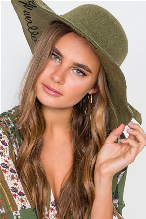 Olive Follow Your Dreams Graphic Wide Brim Hat
