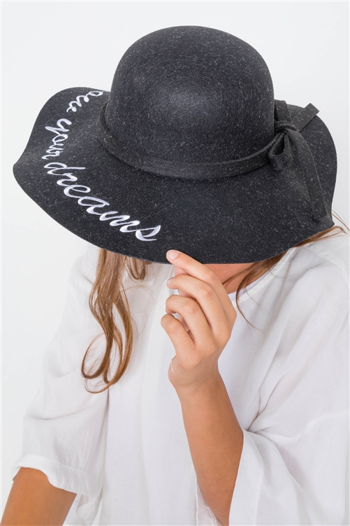 Black Follow Your Dreams Graphic Wide Brim Hat