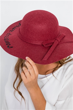 Burgundy Follow Your Dreams Graphic Wide Brim Hat