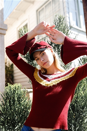Burgundy Black Cabby Hat