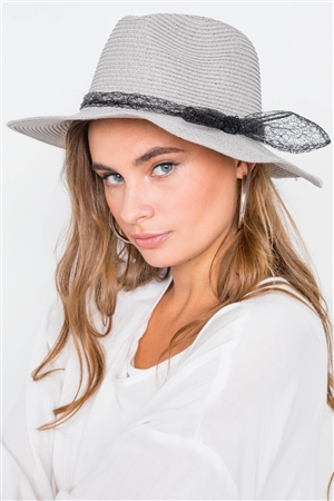 Grey Straw Bow-Tie Fedora Hat