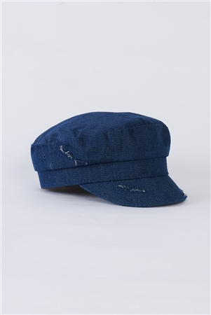 Dark Denim Distressed Cabby Hat