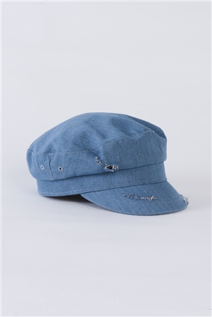 Light Denim Distressed Cabby Hat