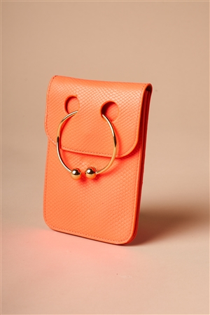 Neon Orange Python Ring Loop Crossbody Bag
