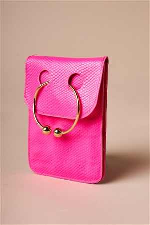 Hot Pink Python Ring Loop Crossbody Bag