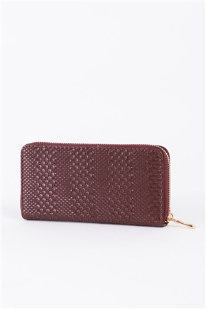 Taupe Woven Texture Vegan Leather Zipper Wallet /3 Piece