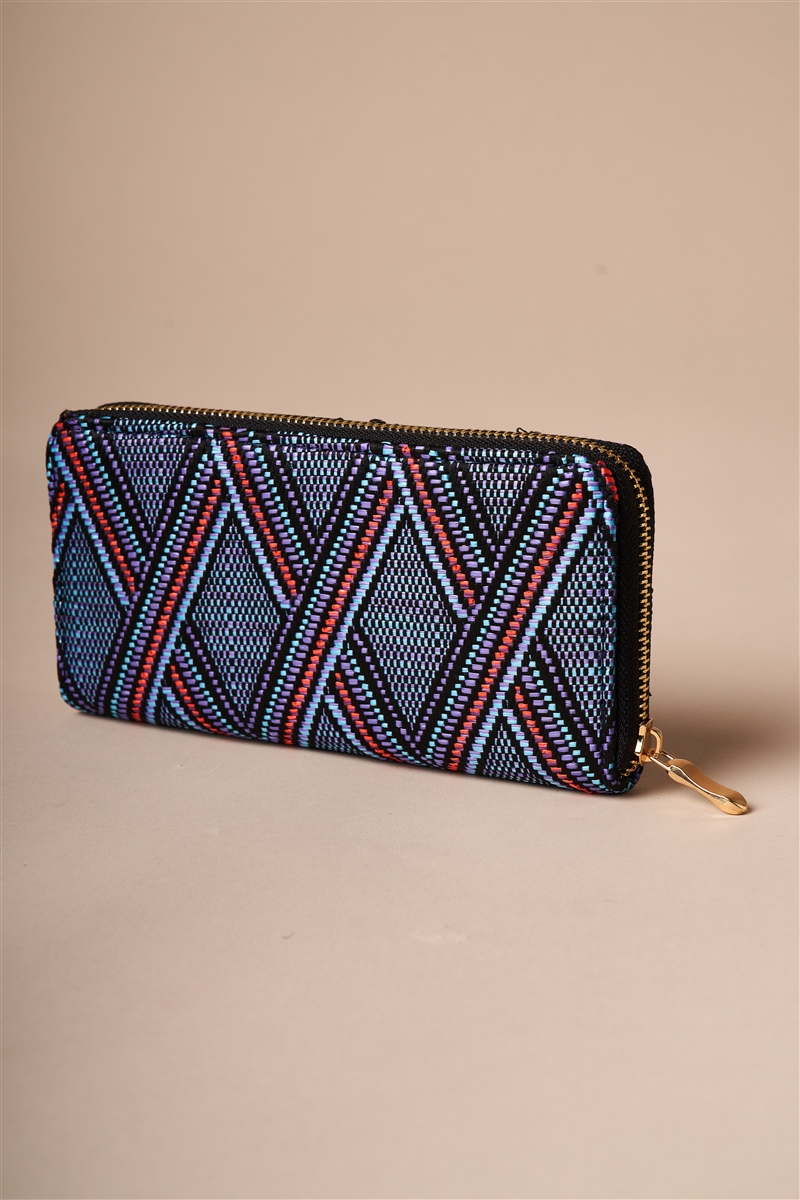 Blue Multi-colored Zipper Wallet