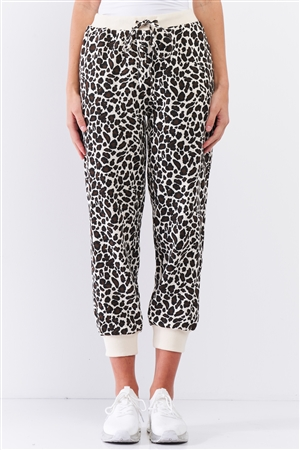Ivory & Black Leopard High Waisted Rib Waist And Cuff Drawstring On The Waist Two Side Pocket Oversized Jogger Pants /3-2-1