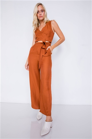 Camel Satin Wide Pant Leg Maxi Wrap Cut-Out Jumpsuit
