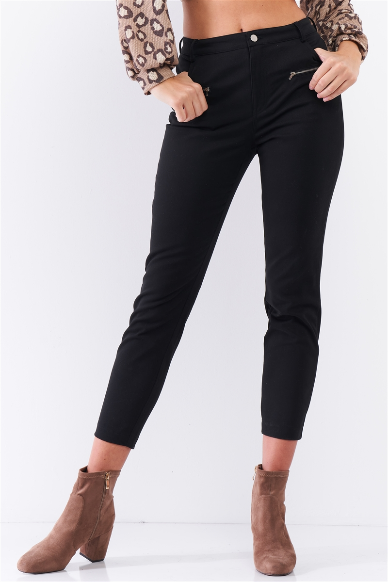 Black High Rise Two Front Sewn Pockets With Zipper Closure Stretchy Pants /3-2-1